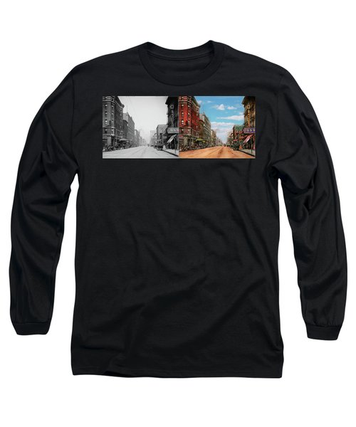 Long Sleeve T-Shirt featuring the photograph City - Memphis Tn - Main Street Mall 1909 - Side By Side by Mike Savad