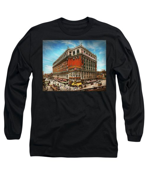 Long Sleeve T-Shirt featuring the photograph City - Ny New York - The Nation's Largest Dept Store 1908 by Mike Savad