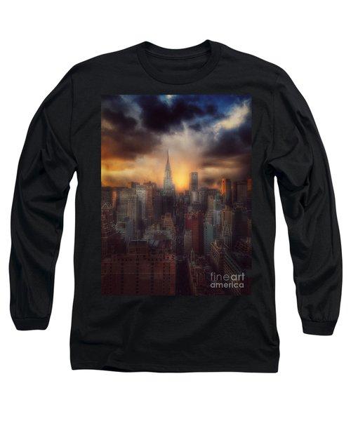 City Splendor - Sunset In New York Long Sleeve T-Shirt by Miriam Danar