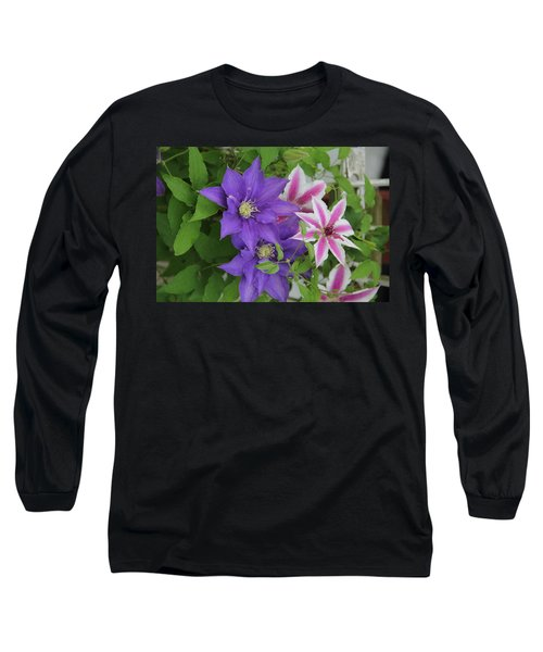 Clematis Purple And Pink White Long Sleeve T-Shirt