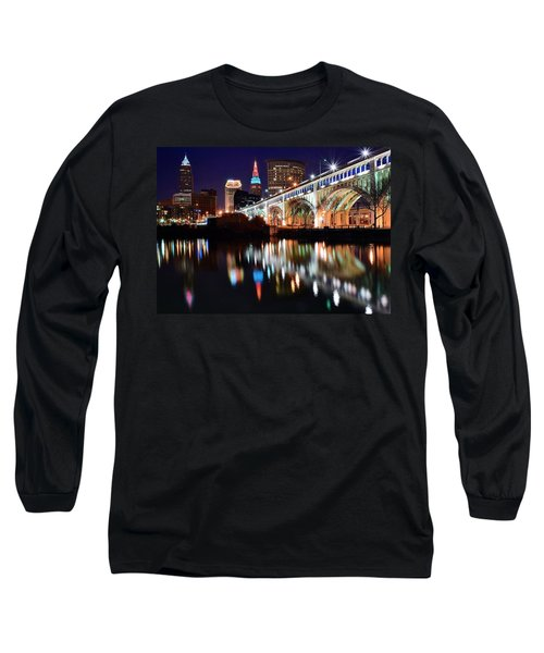 Cleveland Ohio Skyline Long Sleeve T-Shirt by Frozen in Time Fine Art Photography