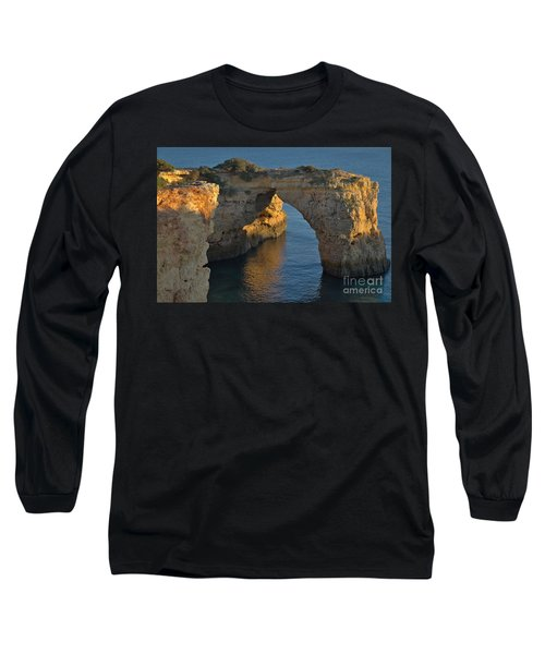 Cliff Arch In Albandeira Beach During Sunset 2 Long Sleeve T-Shirt by Angelo DeVal