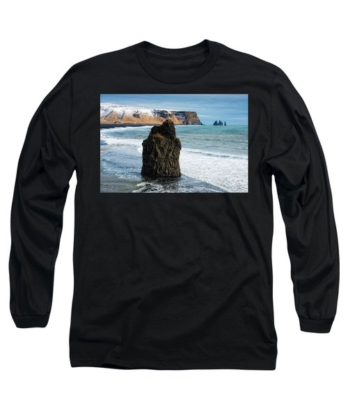 Long Sleeve T-Shirt featuring the photograph Cliffs And Ocean In Iceland Reynisfjara by Matthias Hauser