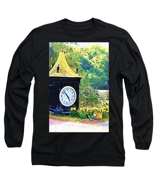 Long Sleeve T-Shirt featuring the photograph Clock Tower In The Garden by Donna Bentley