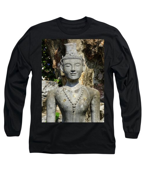 Close Up Of A Statue Depicting A Thai Yoga Pose At Wat Pho Temple Long Sleeve T-Shirt