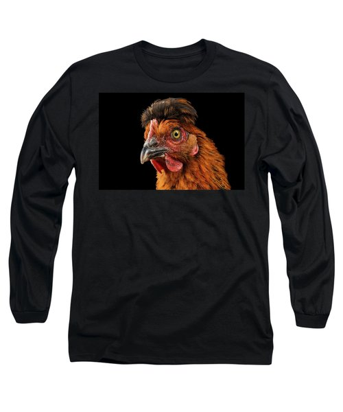 Closeup Ginger Chicken Isolated On Black Background In Profile View Long Sleeve T-Shirt by Sergey Taran