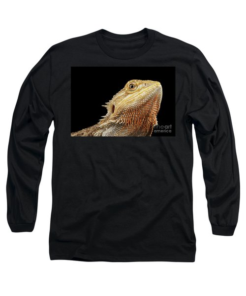 Closeup Head Of Bearded Dragon Llizard, Agama, Isolated Black Background Long Sleeve T-Shirt