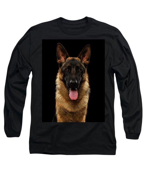 Closeup Portrait Of German Shepherd On Black  Long Sleeve T-Shirt