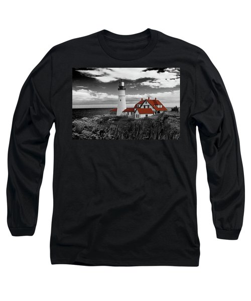 Clouds Over Portland Head Lighthouse 3 - Bw Long Sleeve T-Shirt