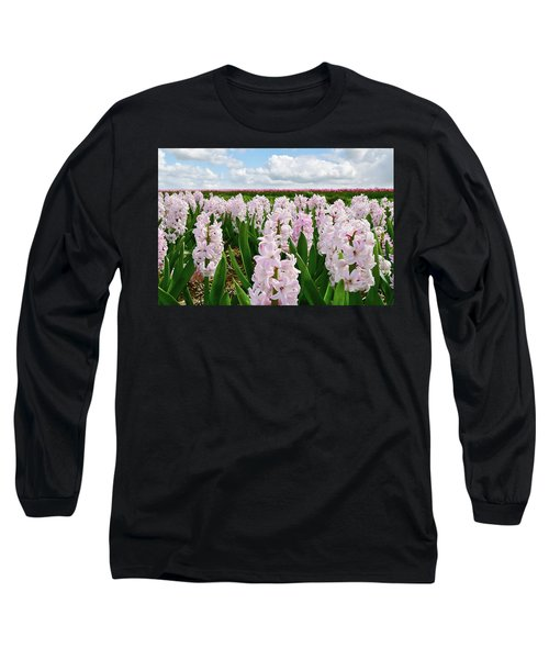 Clouds Over The Pink Hyacinth Field Long Sleeve T-Shirt by Mihaela Pater