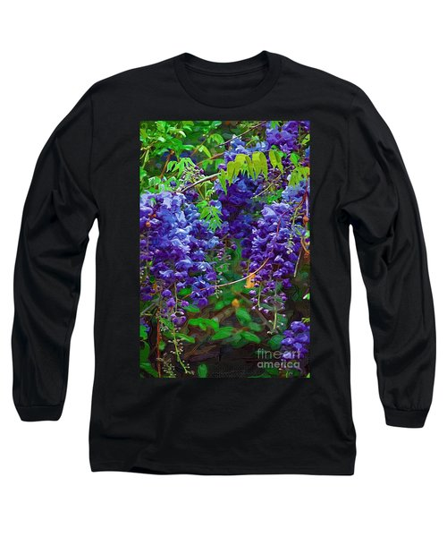 Long Sleeve T-Shirt featuring the photograph Clusters Of Wisteria by Donna Bentley