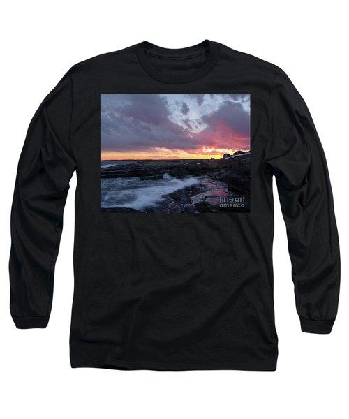 Coastal Sunset Cape Neddick - York Maine  -21056 Long Sleeve T-Shirt