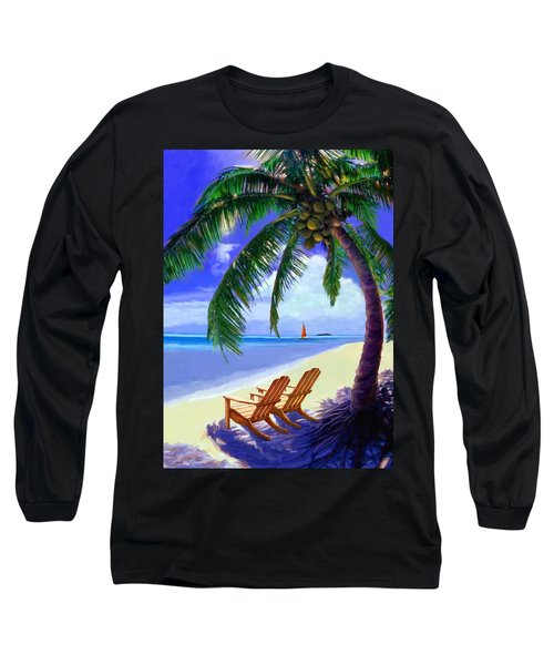 Long Sleeve T-Shirt featuring the painting Coconut Palm by David  Van Hulst