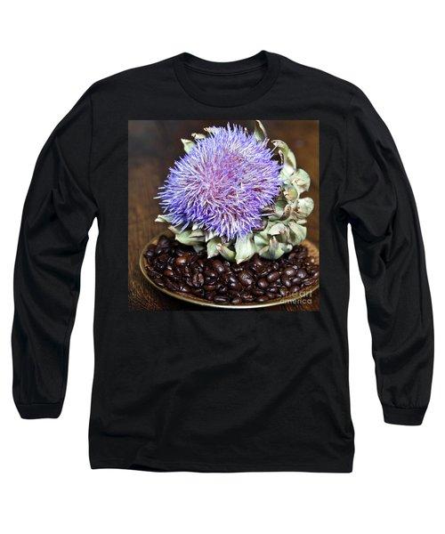 Coffee Beans And Blue Artichoke Long Sleeve T-Shirt