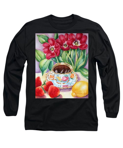 Long Sleeve T-Shirt featuring the painting Coffee With Flavour by Inese Poga