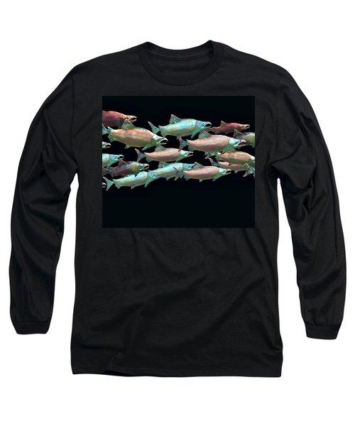 Coho Migration Long Sleeve T-Shirt by Jeff Burgess
