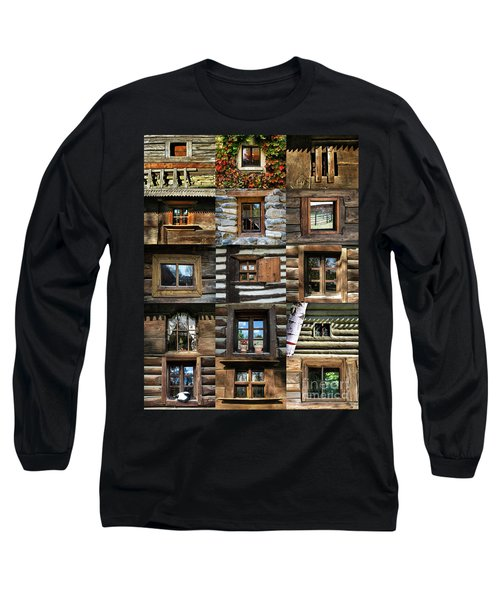 Collage From Handmade Traditional Wooden  Windows In Village Museum Bucharest Long Sleeve T-Shirt