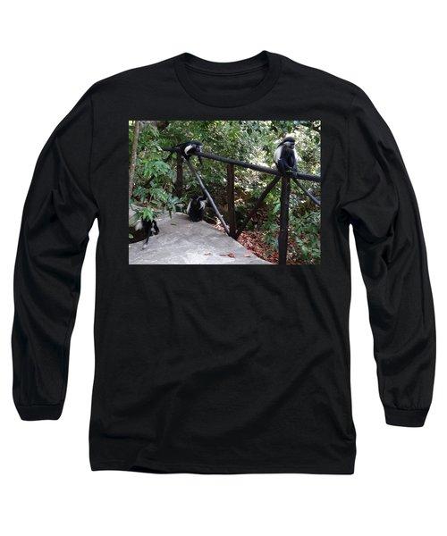 Colobus Monkeys At Sands Chale Island Long Sleeve T-Shirt
