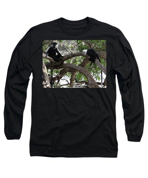 Colobus Monkeys Sitting In A Tree Long Sleeve T-Shirt