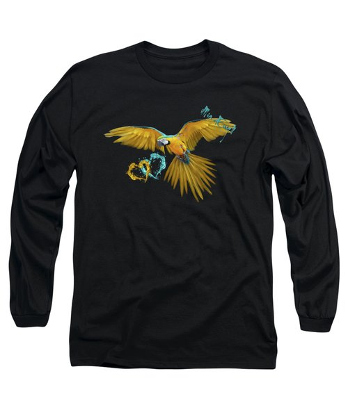Colorful Blue And Yellow Macaw Long Sleeve T-Shirt