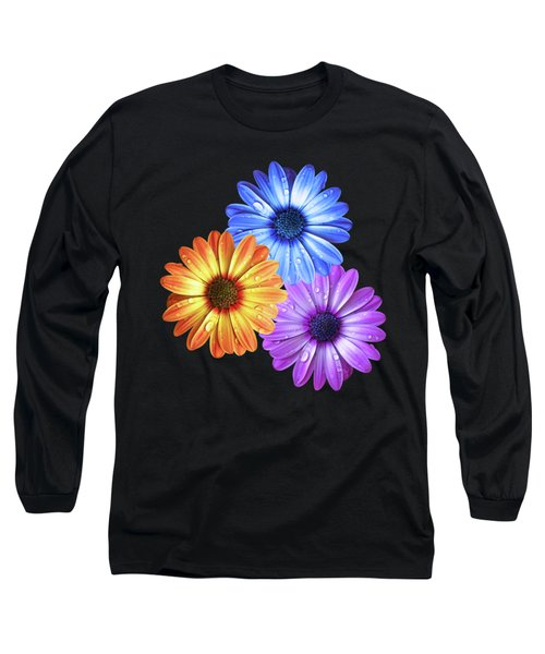 Colorful Daisies With Water Drops On Black Long Sleeve T-Shirt