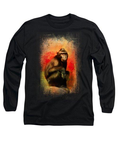 Colorful Expressions Black Monkey Long Sleeve T-Shirt by Jai Johnson
