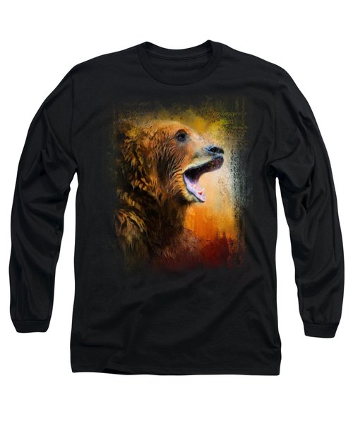Colorful Expressions Grizzly Bear 2 Long Sleeve T-Shirt by Jai Johnson