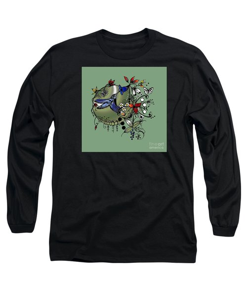 Colorful Hummingbird Ink And Pencil Drawing Long Sleeve T-Shirt by Saribelle Rodriguez