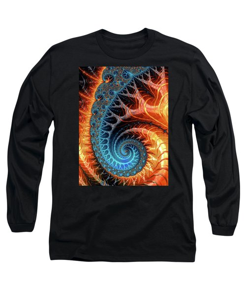 Colorful Luxe Fractal Spiral Turquoise Brown Orange Long Sleeve T-Shirt by Matthias Hauser