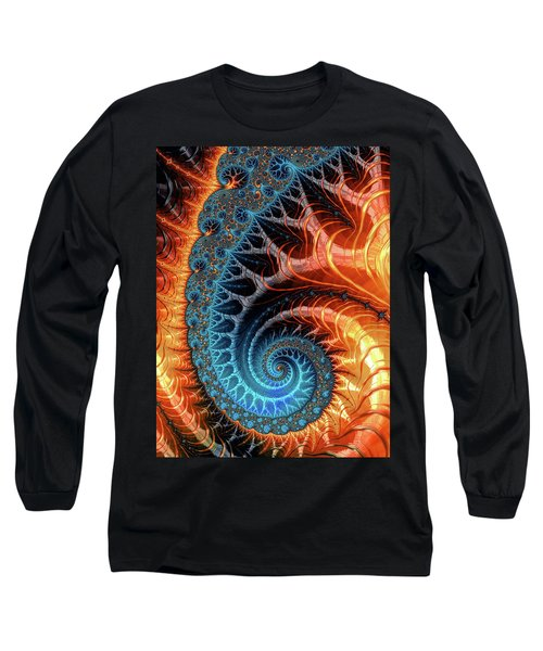 Colorful Luxe Fractal Spiral Turquoise Brown Orange Long Sleeve T-Shirt