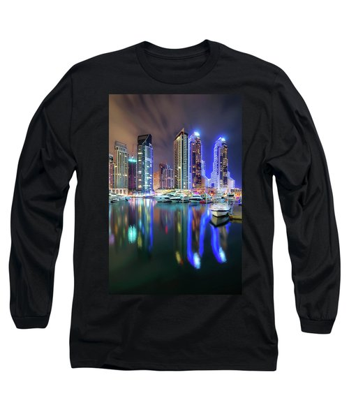 Colorful Night Dubai Marina Skyline, Dubai, United Arab Emirates Long Sleeve T-Shirt