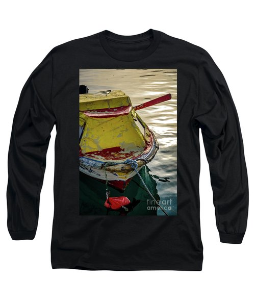 Colorful Old Red And Yellow Boat During Golden Hour In Croatia Long Sleeve T-Shirt