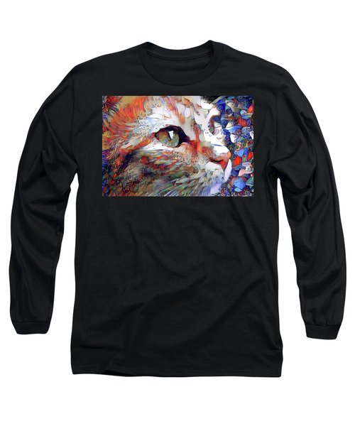 Colorful Orange Cat Art Long Sleeve T-Shirt