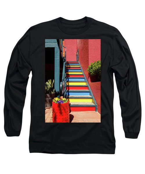 Long Sleeve T-Shirt featuring the photograph Colorful Stairs by James Eddy