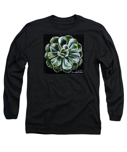 Long Sleeve T-Shirt featuring the painting Colorful Succulent by Sandra Estes