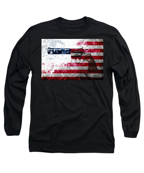 Colt Python 357 Mag On American Flag Long Sleeve T-Shirt by M L C