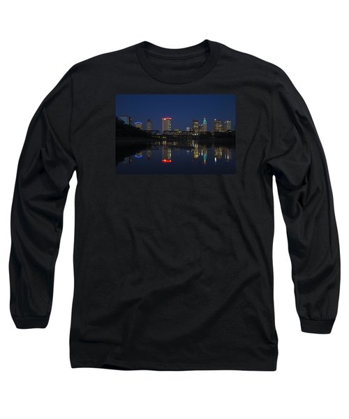 Columbus Night Reflection Long Sleeve T-Shirt by Alan Raasch