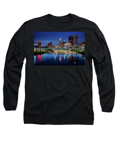 Long Sleeve T-Shirt featuring the photograph Columbus Ohio Skyline At Night by Adam Romanowicz