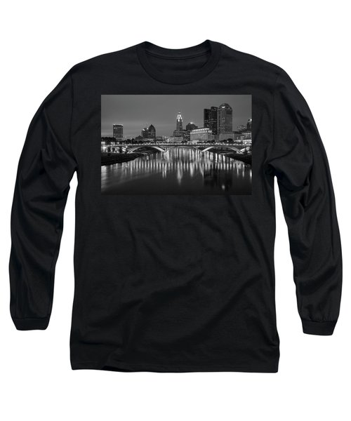 Long Sleeve T-Shirt featuring the photograph Columbus Ohio Skyline At Night Black And White by Adam Romanowicz