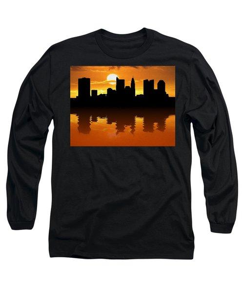 Columbus Ohio Skyline Sunset Reflection Long Sleeve T-Shirt
