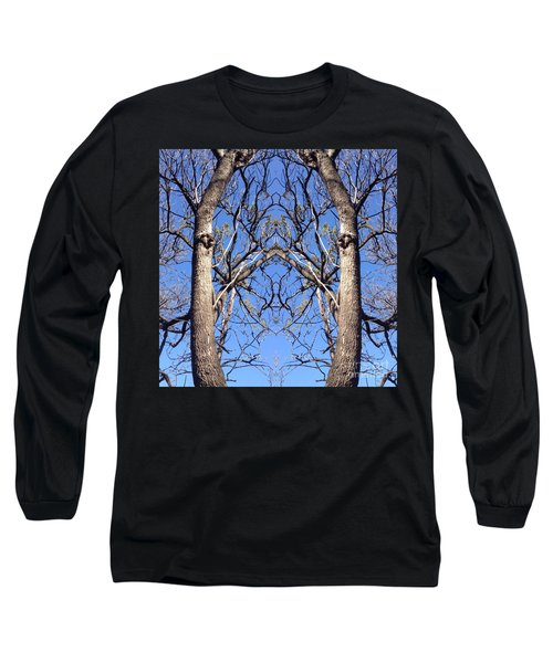 Long Sleeve T-Shirt featuring the photograph Conjoined Tree Collage by Nora Boghossian