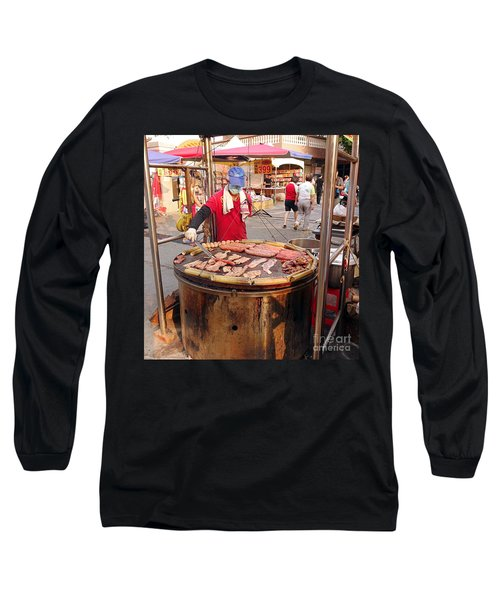 Long Sleeve T-Shirt featuring the photograph Cooking Meat And Eggs On A Huge Grill by Yali Shi