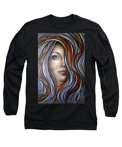 Long Sleeve T-Shirt featuring the painting Cool Blue Smile 070709 by Selena Boron