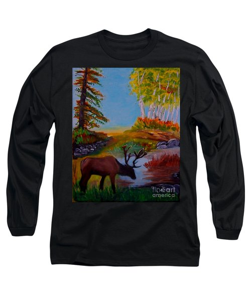 Long Sleeve T-Shirt featuring the painting Cool Drink by Leslie Allen