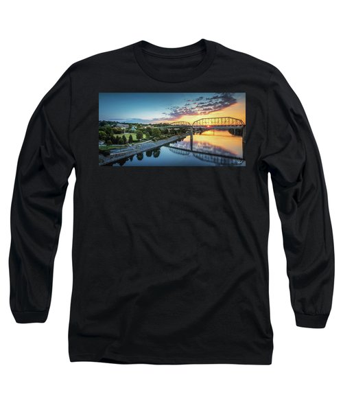 Coolidge Park Sunrise Panoramic Long Sleeve T-Shirt by Steven Llorca