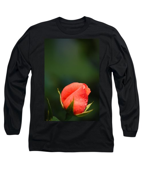 Coral Rose On Green Long Sleeve T-Shirt by Debbie Karnes