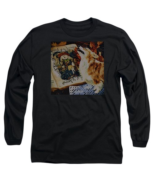 Long Sleeve T-Shirt featuring the digital art Corgi Appreciating Art by Kathy Kelly
