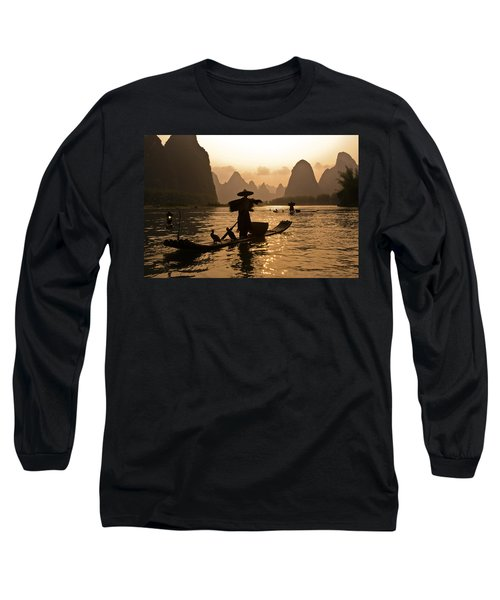 Cormorant Fisherman At Sunset Long Sleeve T-Shirt