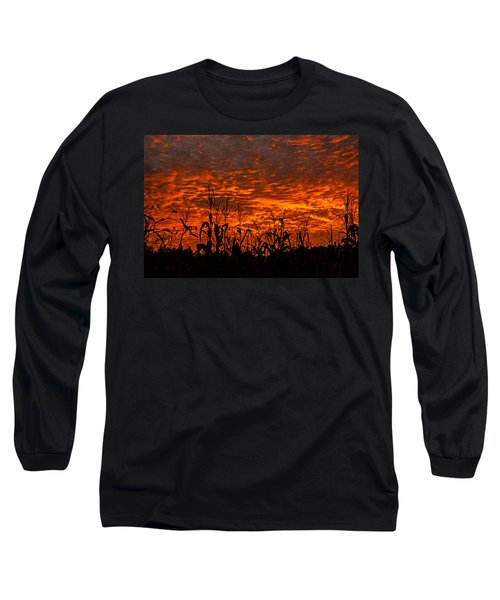 Corn Under A Fiery Sky Long Sleeve T-Shirt by John Harding