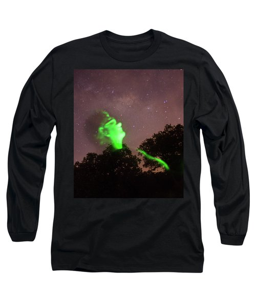 Cosmic Selfie In Green Long Sleeve T-Shirt by Carolina Liechtenstein